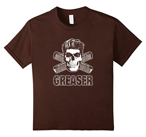 Kids Greaser T-Shirt Skull and Combs 6 (1950s Greaser Girl)
