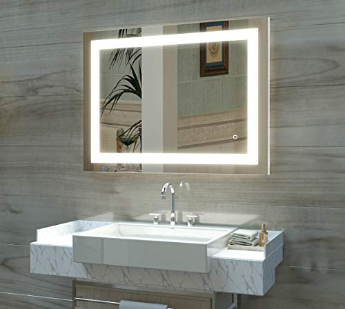 HAUSCHEN 32 x 40 inch LED Lighted Bathroom Wall Mounted Mirror with - Lighting Mirrors Bathroom Back With