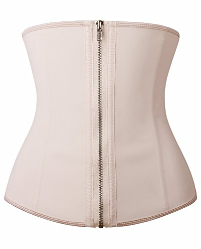 YIANNA Women Zip&Hook Latex Waist Training Corsets/Cincher Sport Girdle Underbust Hourglass Body Shaper, YA2219-Beige-New-L (Best Waist Cincher Corset)