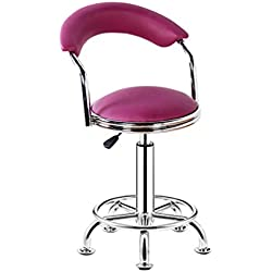 Decorative stool Bar Chair, Round Stool Household Beauty Salon Stool Backrest High Chair Steering Chair Reception Desk Chair Rotatable Liftable Chair Lift height 44-56cm (Color : Purple)