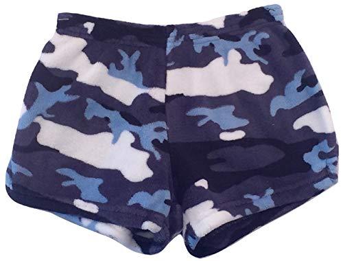 Made with Love and Kisses Girl's Fuzzy Plush Pajama/Loungewear Shorts - Camo (Blue) - - Girls Loungewear Pajamas