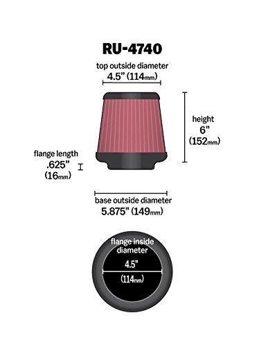 K/&N RU-4740 KFZ und Motorrad Gummi Universalluftfilter