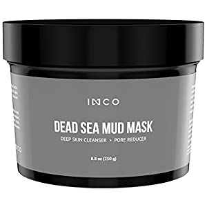 INCO Dead Sea Mud Mask For Face, Acne, Oily Skin & Blackheads - Best Facial Pore Minimizer, Reducer & Pores Cleanser Treatment - Natural For Younger Looking Skin