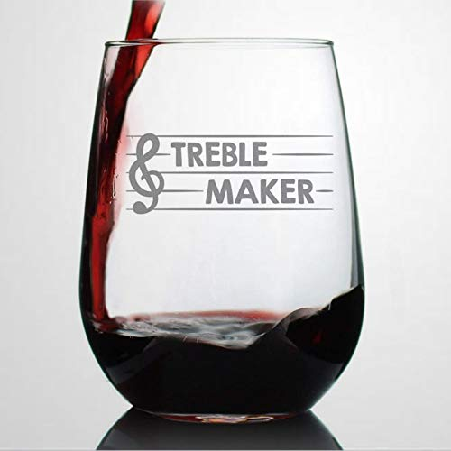 Treble Maker Wine Glass Cute Funny Music Teacher Present for Women And Men Fun Unique Musical Decor Wine Glasses Durable…