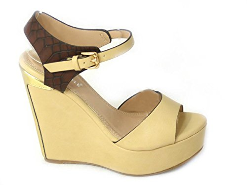 SKO'S New Womens Ladies Low Mid High Heel Strappy Wedges Peep Toe Sandals Shoes Size Beige (19) qzNYXi2