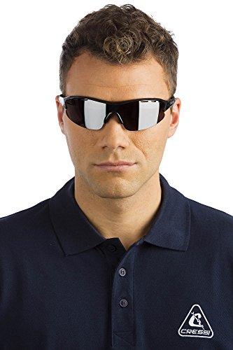 Cressi Premium adultes de Sport Lunettes de soleil–Polarisés Protection UV Noir/Lentilles Miroir Gris-Vento