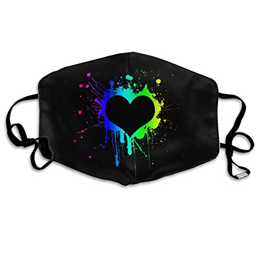 Colorful Splash Painting Love Heart Black Anti-Dust Earloop Mouth Mask for Women Men, Anti Flu Pollen Germs Cycling Painting Half Face Mouth Mask - Adjustable Elastic Band Respirator