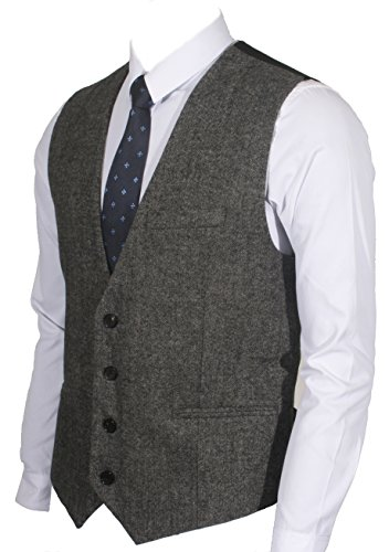 (Ruth&Boaz 3Pockets 4Buttons Wool Herringbone / Tweed Business Suit Vest (L, Tweed Black))
