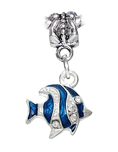 Fish Blue Silver Enamel Tropical Beach Ocean Dangle Charm for European Bracelet