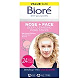 Bioré Nose+Face, Deep Cleansing Pore Strips, 24 Count Value Size, 12 Nose + 12 Face Strips for Chin or Forehead, with Instant Blackhead Removal