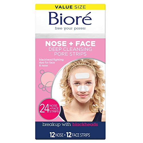 Bioré Blackhead Removing and Pore Unclogging Deep Cleansing Pore Strip for Nose, Chin, and Forehead, Cruelty Free, Vegan, Oil-Free & Non-Comedogenic, for all skin types (24 Count) (Packaging May Vary)