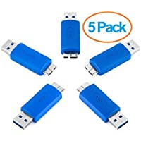 Aurum Cables USB 3.0 Wireless Adapter Coupler Connector - USB A Male to Micro B Male - Pack of Five
