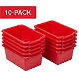 ECR4Kids Scoop-Front Storage Bins, Easy-to-Grip Design Storage Cubbies, Kid Friendly and Built to Last, Pairs with ECR4Kids Storage Units, 10-Pack, Red