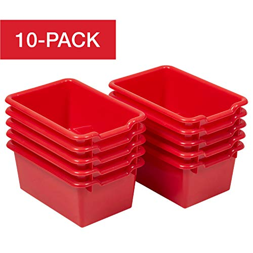 ECR4Kids Scoop Front Storage Bins, Red (10-Pack)