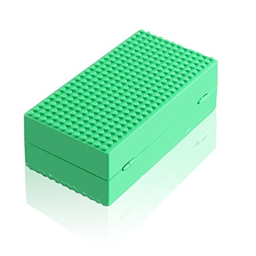 Feleph Blocks Storage Box, Portable Surface DIY Building Blocks Storage Case Baseplates Compatible Action Figures Multifunction Box Building Bricks Base Plate Toys for Kids Gift (Green)