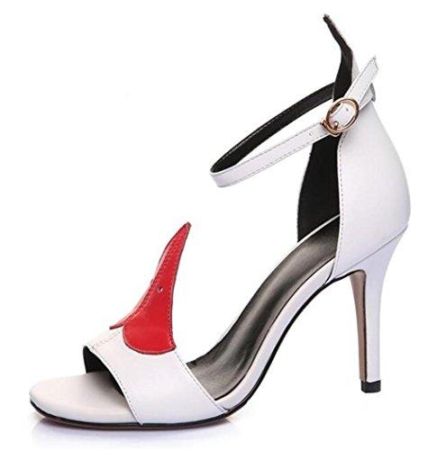 YEEY Cinturón de tobillo de verano abierta de tacón de aguja zapatos de cuero genuino sandalias de tacón alto color sólido negro blanco White