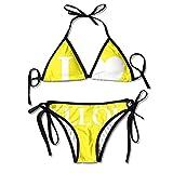 FDJKHY Personalized Women Bikini-I Love Yellow Swimsuit Beachwear
