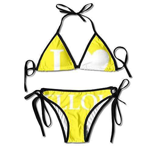 FDJKHY Personalized Women Bikini-I Love Yellow Swimsuit Beachwear by FDJKHY (Image #4)
