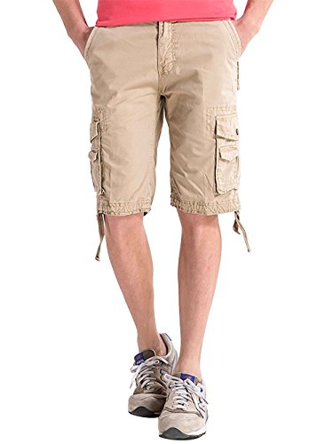 INFLATION Men's All-Season Drawstring Basic Cargo Pocket Shorts,100% Cotton,12 Colors Choices by INFLATION