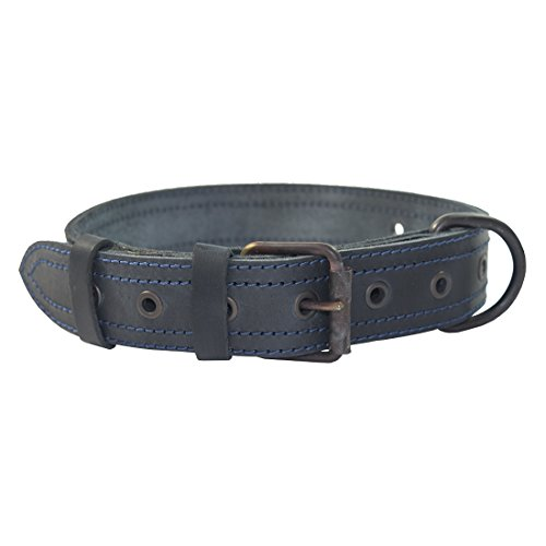 Flat Leather Dog Collar (Thick Leather Dog Collar For Medium Size Dog (10 to 19 Inches) Handmade by Hide & Drink :: Slate Blue)