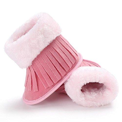 SYY 0-2 Jahre alt Baby Quasten Weiche Sohle Schneeschuhe Weiche Krippe Schuhe Kleinkind Stiefel Rosa