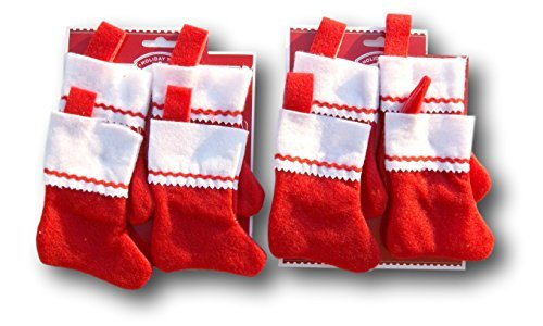 Holiday Time Miniature Red Felt Christmas Stocking Bundle - Set of 8