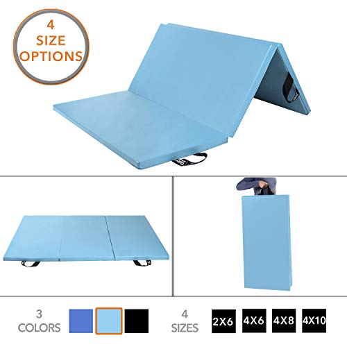 Day 1 Fitness Folding Gymnastics Gym Mat - 4'x8' Light Blue - High-Density Foam, Exercise, Yoga, Gymnastics, Crossfit, Aerobics, Tumbling Mats - Eco-Friendly Foldable Pads