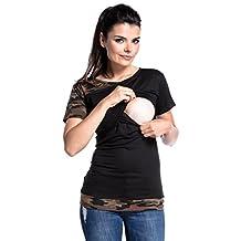 Zeta Ville - Womens Maternity Nursing Layers T-shirt Contrast Hem Sleeve - 011c