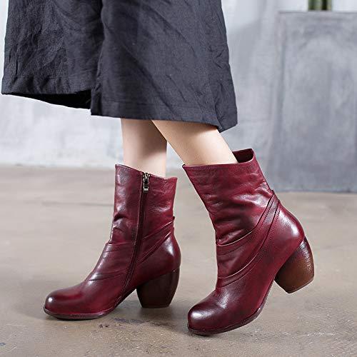 Leather Leather Marrone Marrone Marrone a EU Zipper Rosso metà Shoes Dimensione Vintage Donna Polpaccio 40 Colore Scarpe ZHRUI Soft Block T0FRwWq