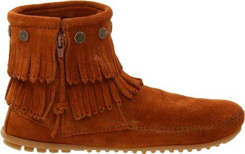 Minnetonka Side Double Brown Boots Womens Boot Zip Fringe nnaqxrp
