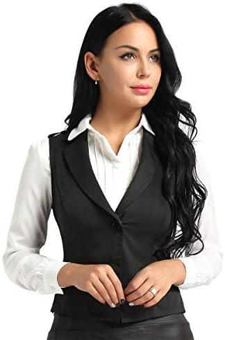Kaerm Womens Slim Fit Business Dressy Suit V-Neck Button Down Waistcoat Vest Crop Top