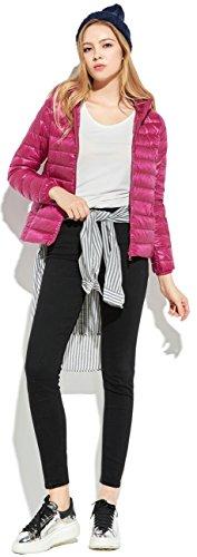 Rose Con Donna Invernale Leggero Hood Jacketwith Packable Da Cappuccio Down purple Ilishop Capispalla dwqPI5I