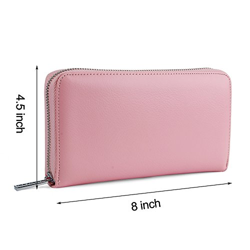 Buvelife Credit Card Wallet Leather RFID Wallet with Zipper for Women or Men, Huge Storage Capacity Credit Card Holder (lovely Pink) by Buvelife (Image #3)