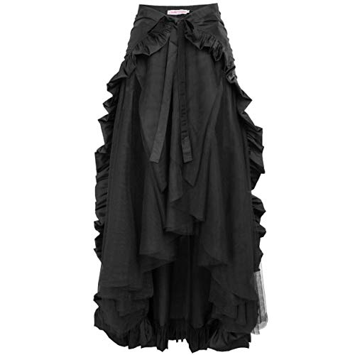 Women Gothic Victorian Steampunk Skirt Bustle Style Renaissance Costume XL Black from Belle Poque