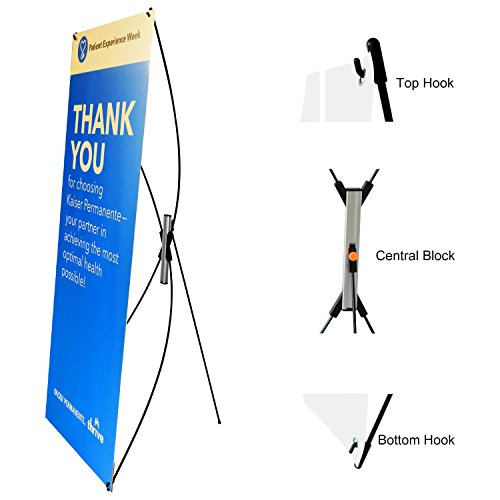 TheDisplayDeal Premium Adjustable Banner Stand fits Banner sizes from 23