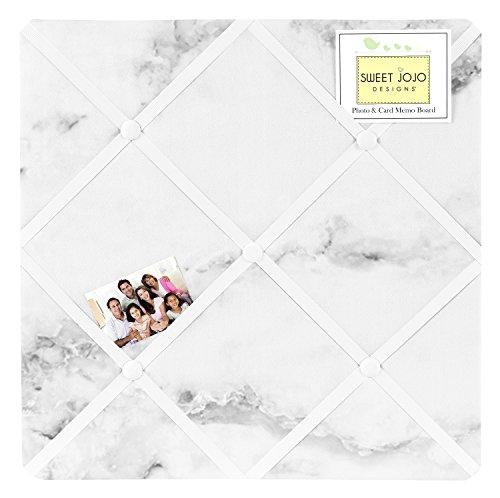Modern Grey, Black and White Marble Print Fabric Memory/Memo Photo (Modern Bulletin Board)