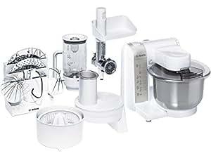 Bosch MUM4856EU - Robot de cocina (bol de acero inoxidable, 600 W), color blanco y gris