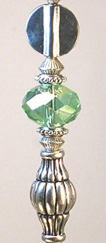 Silvery Urn and Green Faceted Glass Ceiling Fan Pull Chain
