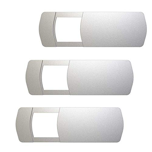 Laptop Camera Cover (3 Pack), Allinko Webcam Cover Slide for Macbook Air Pro iMac iPad Notebook Surface Pro Computer Tablet Desktop PC Monitor, Camera Sliding Blocker Utra Thin Privacy Slider - Silver