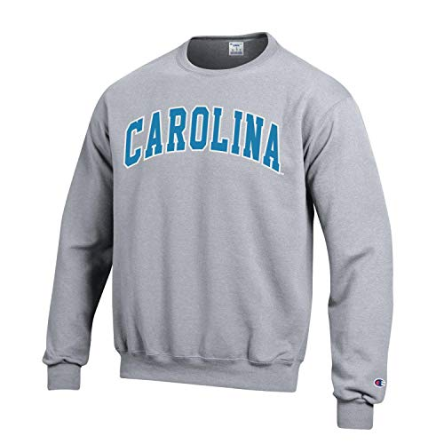 Champion NCAA Men's ECO Power Blend Crew Sweatshirt with Tackle Twill Embroidered Lettering-North Carolina Tar Heels-Heather Grey-XL ()