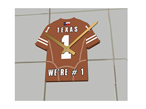 (FanPlastic College Football USA - We're Number ONE American Football Shirt Clocks - Support Your Team !!! (Texas Longhorns))