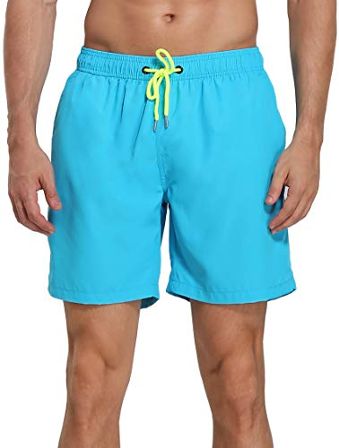 Men's Swim Trunks Beach Board Shorts Dry Quickly Stripe Bathing Suits Short New Sky Blue 34