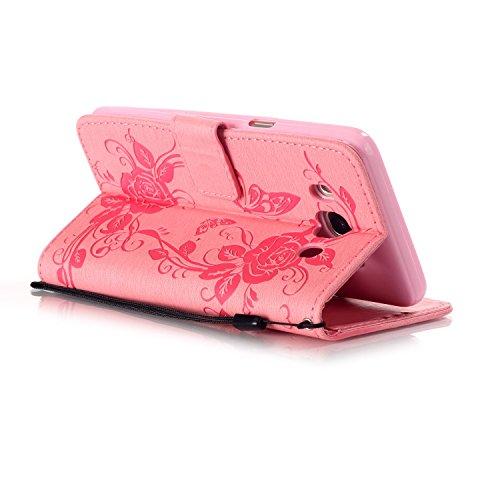 JIALUN-Personality teléfono shell Funda Samsung Galaxy J510, Cierre magnético Funda sintética de la PU Funda de cuero, Relieve Flores Mariposa con caja de diamantes de imitación para Samsung Galaxy J5 Pink