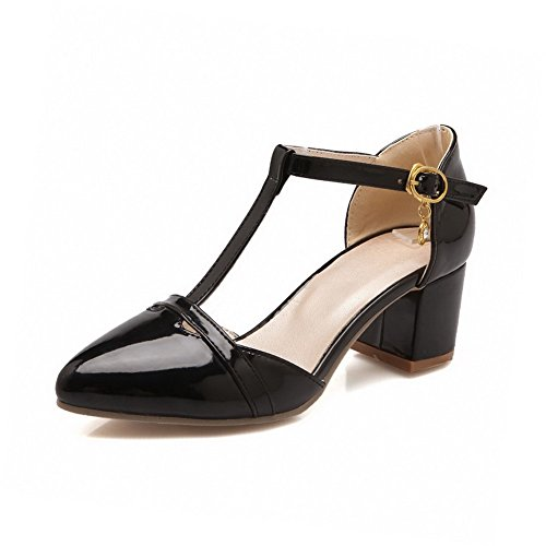 VogueZone009 Women's Buckle Closed Pointed Toe Kitten Heels Pu Solid Pumps Shoes Black HrkYxbN
