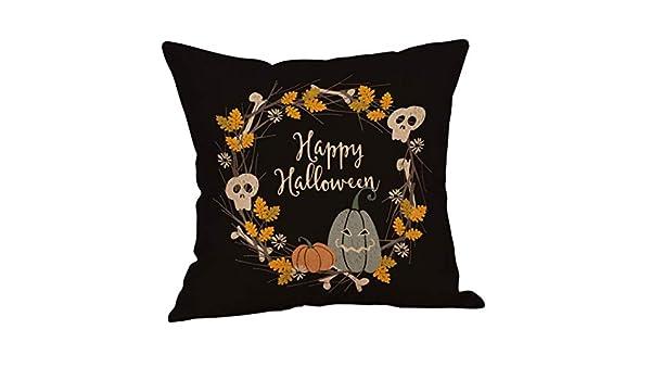 ❤JPJ(TM)❤️_Halloween products Funda de Almohada, 1 Funda de Almohada para sofá de Halloween, Calabaza, Fundas de Almohada, Funda de cojín para decoración ...