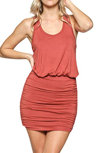 LaClef Women's Mini Ruched Tank Shift Dress (Brick, - Dresses Casual Sexy