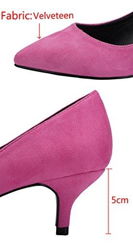 Pumps Rose On Heels Kitten Party Slip Women's Toe Wedding CAMSSOO Shoes for Pointy Velvet Xwqftn7