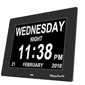 """Honglanao® Reloj Calendario Actualización   Con Función de Alarma 8"""" Digital Calendario Día Reloj No Abreviatura de Letras   Reloj Digital Avanzado Para Los Pacientes de Alzheimer (Negro)"""