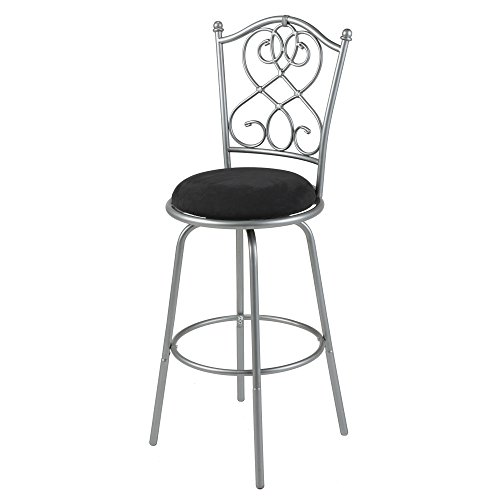 Atlanta Metal Bar Stool with Black Microfiber Swivel-Seat and Brushed Silver Frame (Black Microfiber Suede Bar Stool)