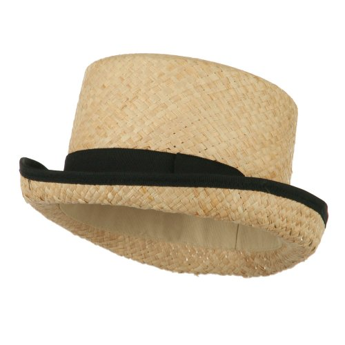 Top Raffia (Raffia Straw Top Hat Fedora - Black M-L)